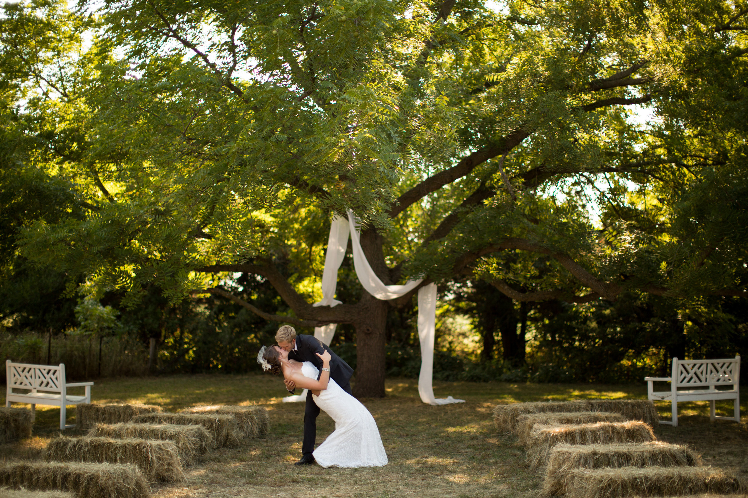 iowa-venue-fort-dodge-first-presbyterian-church-reception-rustic-country-lace-yellow-billy-balls-teal-vintage-hay-bales-fabric-tree-outdoor-ceremony
