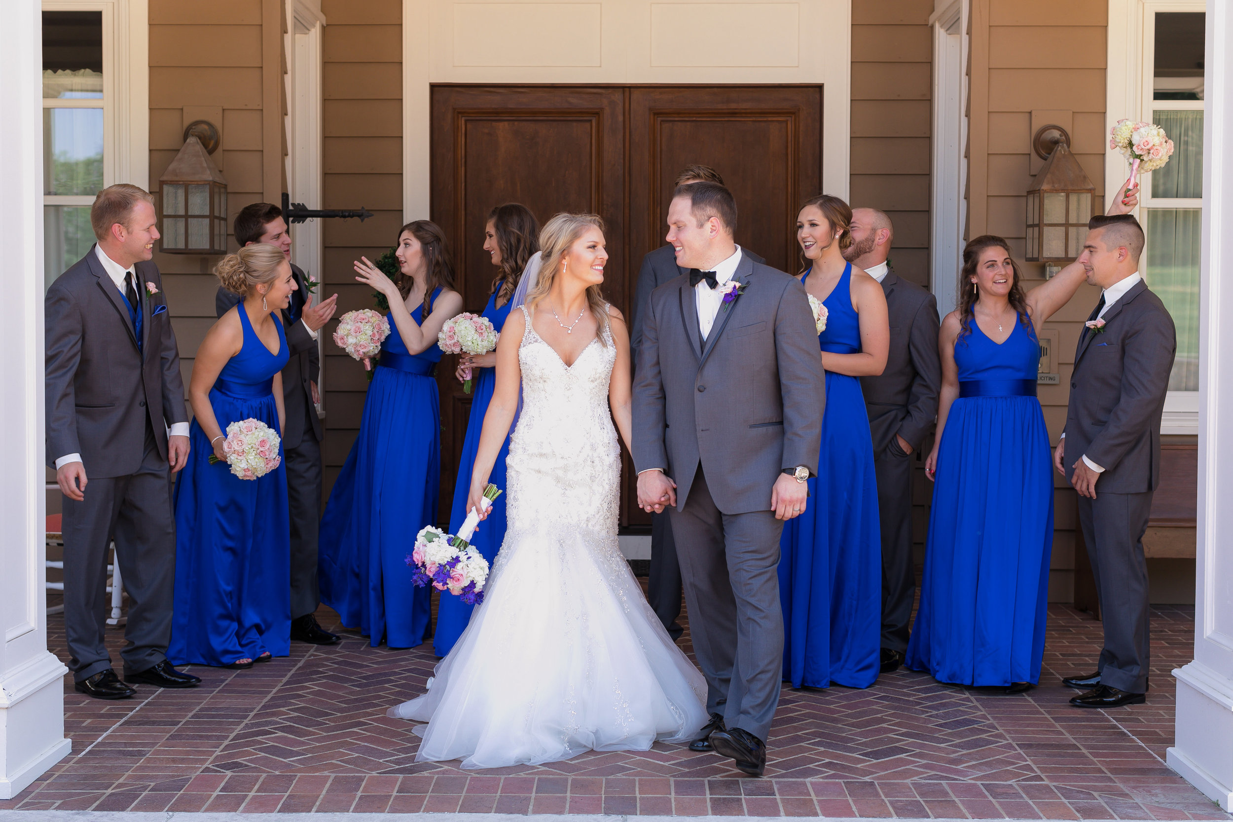 iowa-wedding-beaded-dress-cedar-rapids-backyard-wedding-getting-ready-planned-by-mostly-becky-weddings-bridal-party-blue-dresses-gray-suits