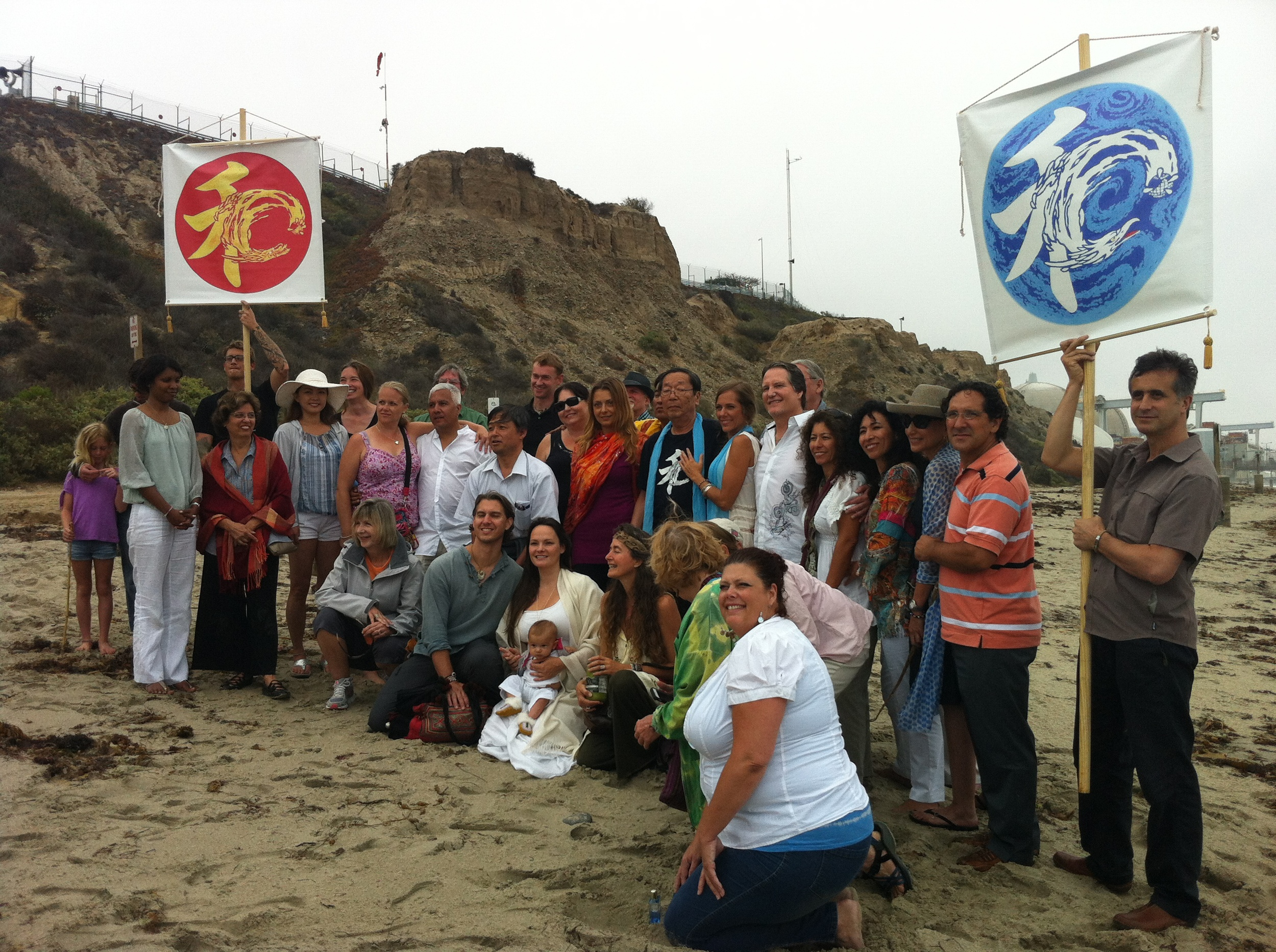 Dr. Emoto And Gary Christmas at San Onofre Beach California