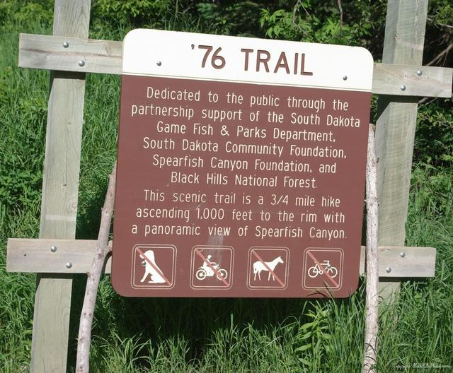 The 76 trail is a popular trail due to its location near Roughlock Falls, one of Spearfish Canyon's main attractions. This trail dating back to 1876 was part of a 16 mile mining trail.  Photo By: Black Hills Photos