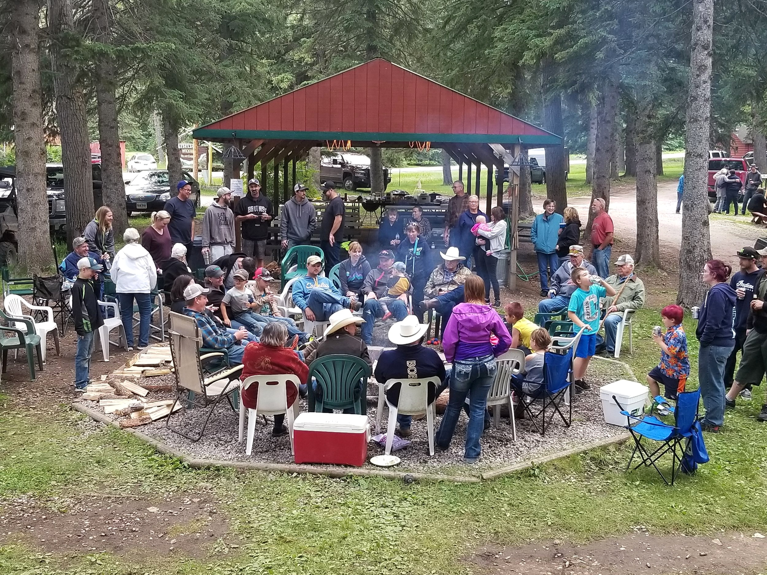 Our campfire and picnic shelter is a perfect place to host family reunions/ weddings or parties. With 20 cabins to rent your whole family will be in one spot for your get together.