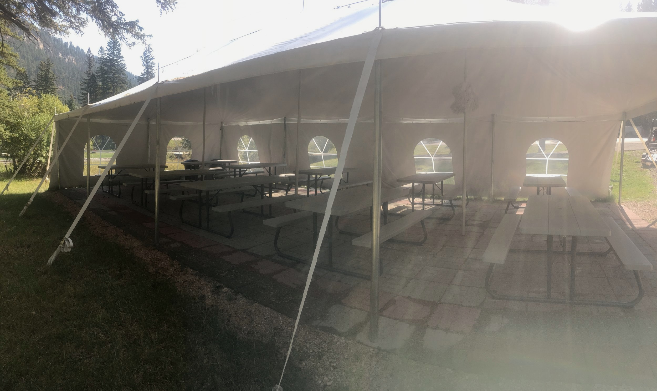 Did someone say party? Our creek side tent is another great option for a birthday party, reunion or wedding. Complete with lighting and 10 picnic tables this is a great little area to relax and hang out.