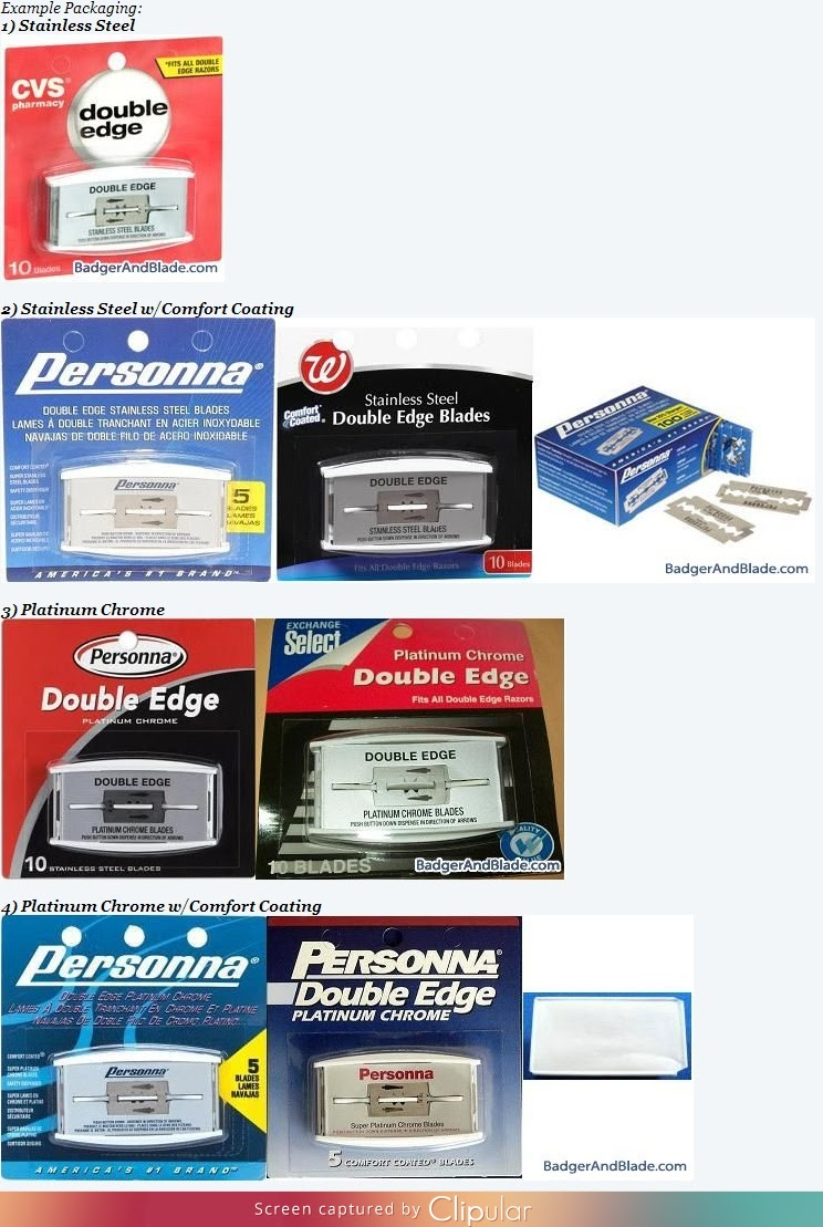 Variety of packaging for Personna made blades.
