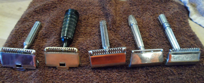 SE Razors: Gem 1912, Gem Junior, EverReady 1924 Shovel Head, MicroMatic Bullseye Closed Comb, MicroMatic OC