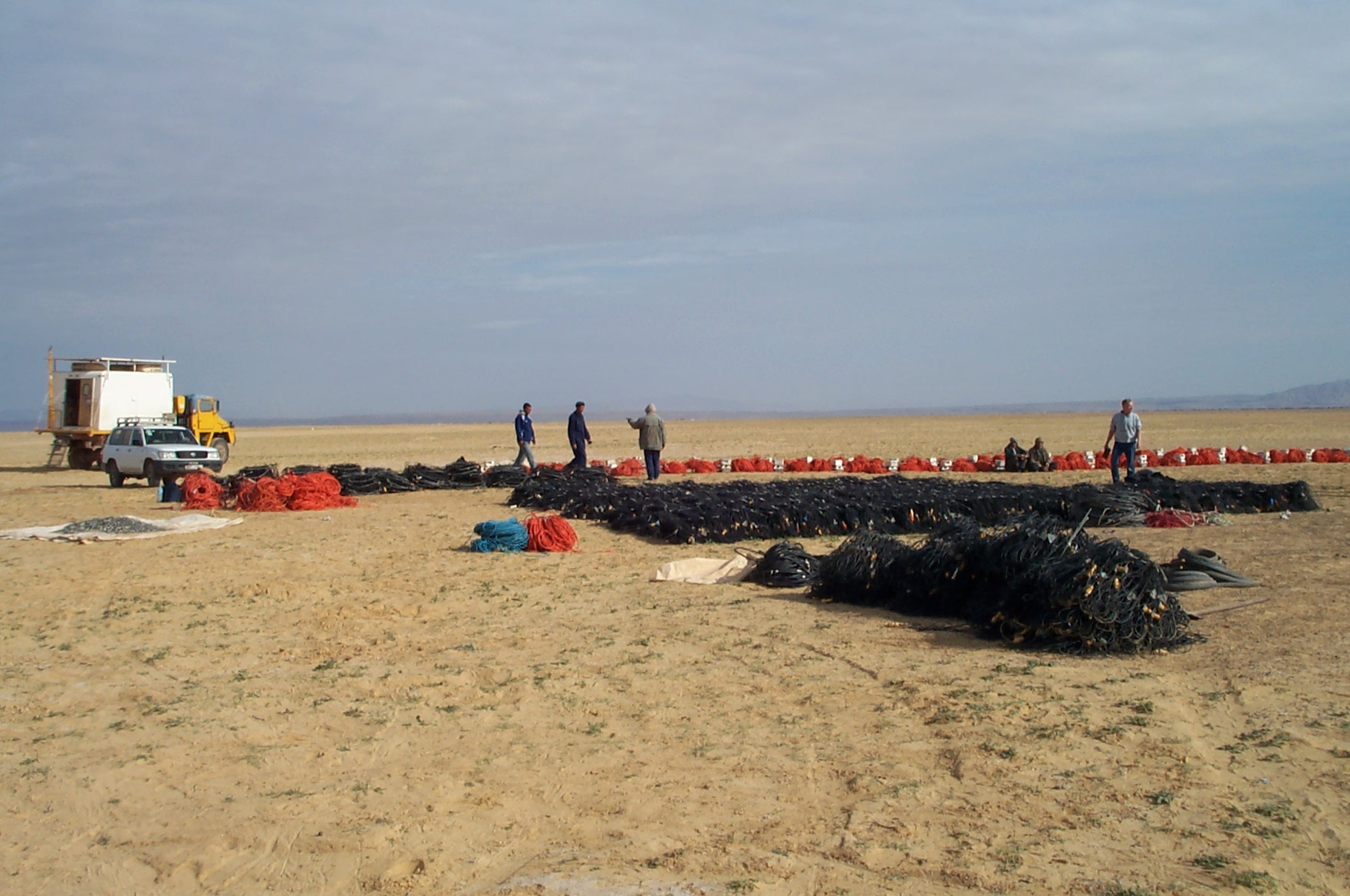 Quality checking cables and geophones for seismic crew start up, Algeria.