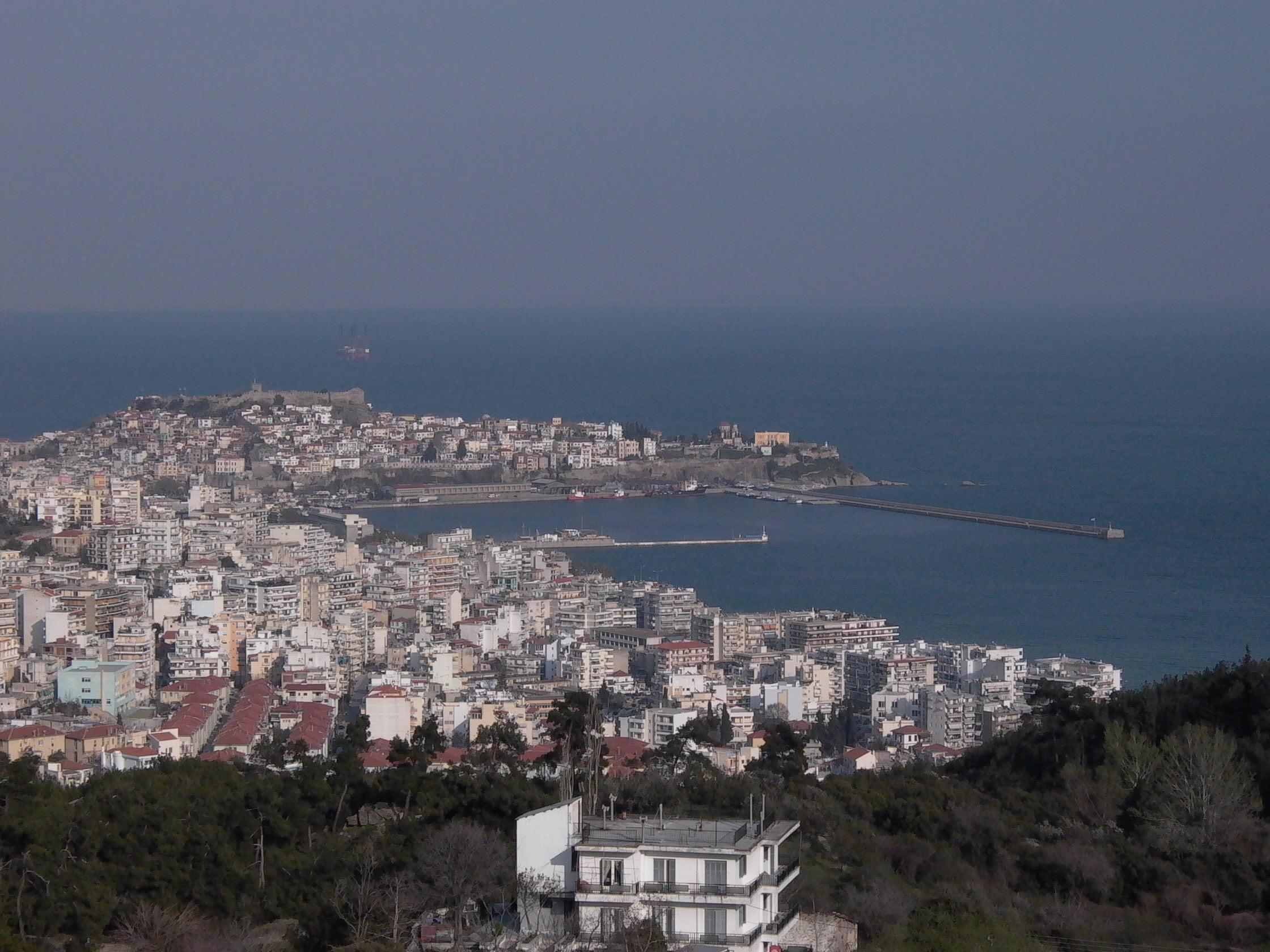 Kavala, Greece. Production platform in the background, Aegean Sea.