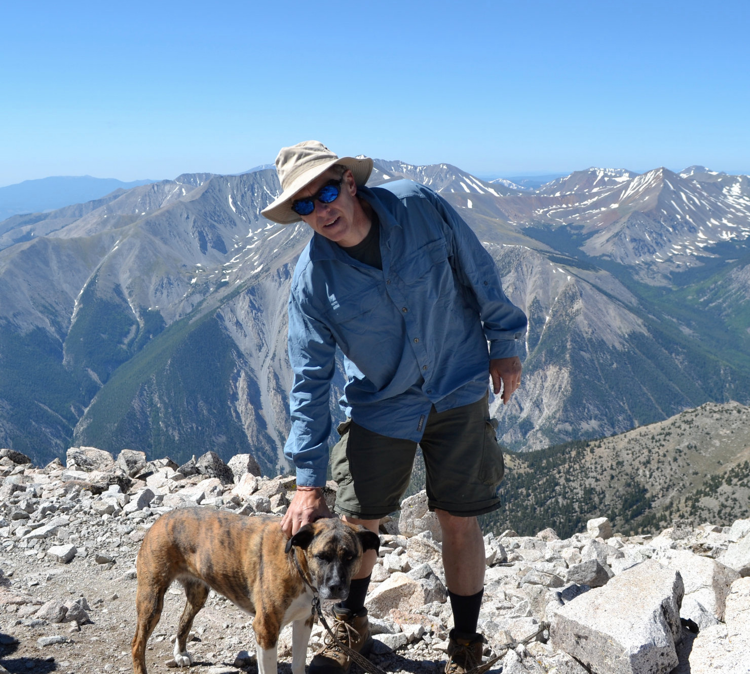 Andy with his sometimes hiking partner Trillian, on Mount Princeton.