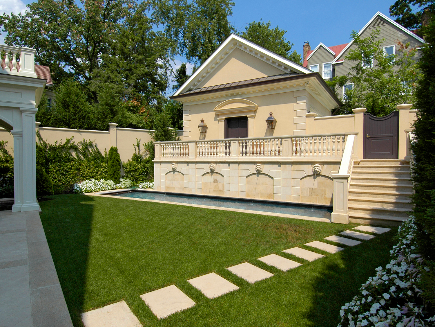 Stone Steppers, Railings, Stairs & Pool