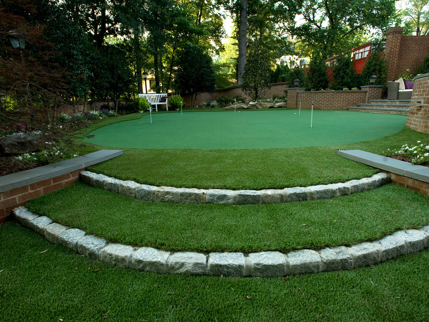 McLean Residence Putting Green & Cobble Terracing