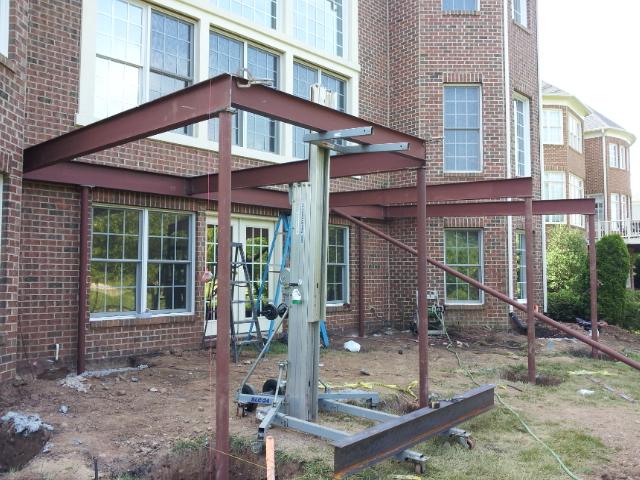 Steel frame terrace being erected.