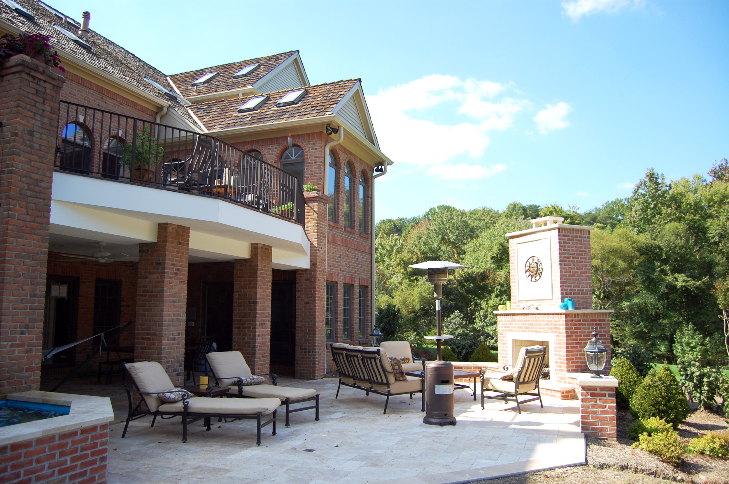Overall view of project and travertine terrace.