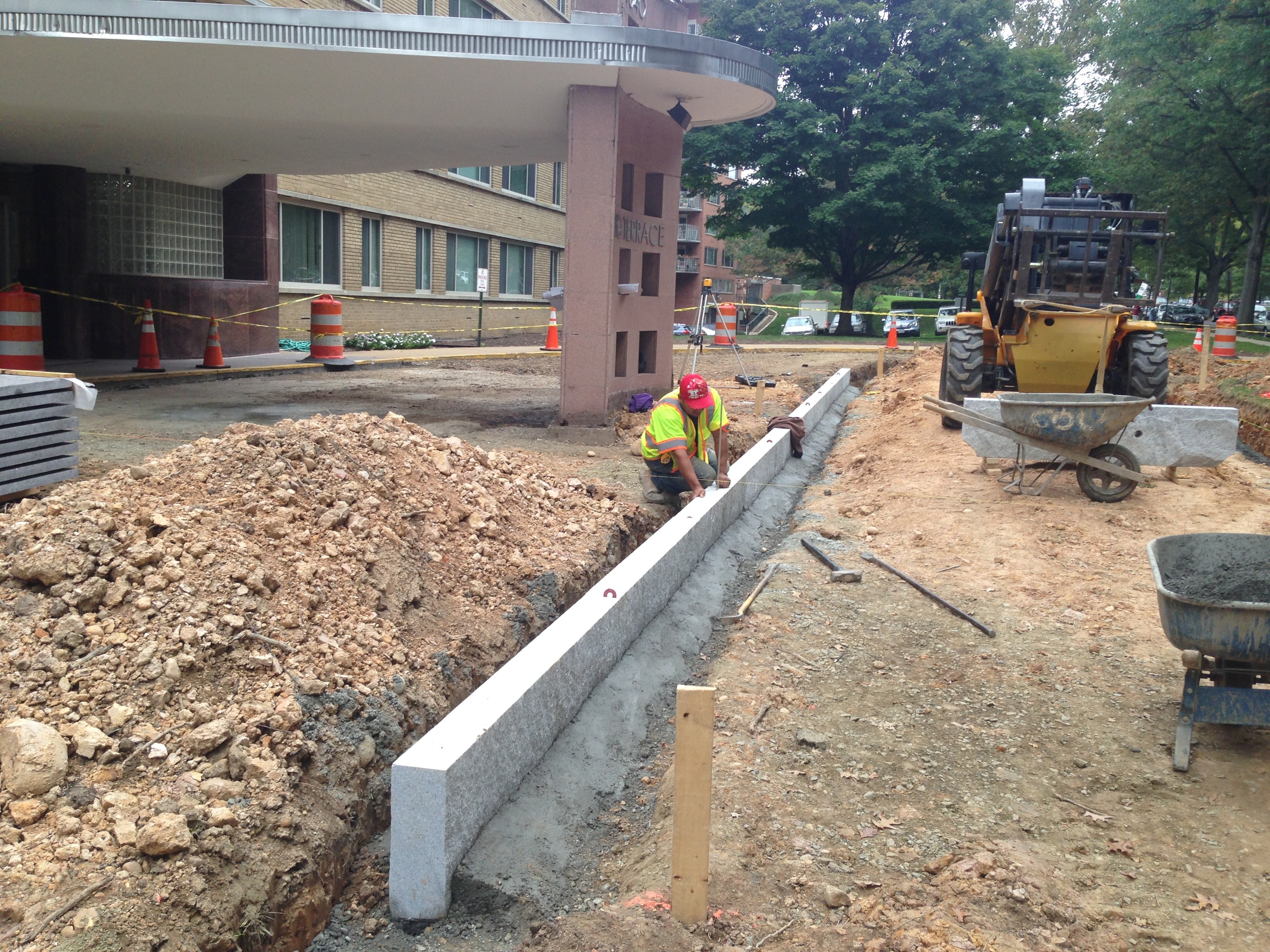 Setting the granite curbs