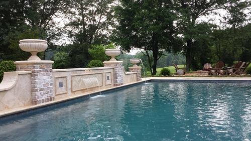 Completed Pool wit Water Feature