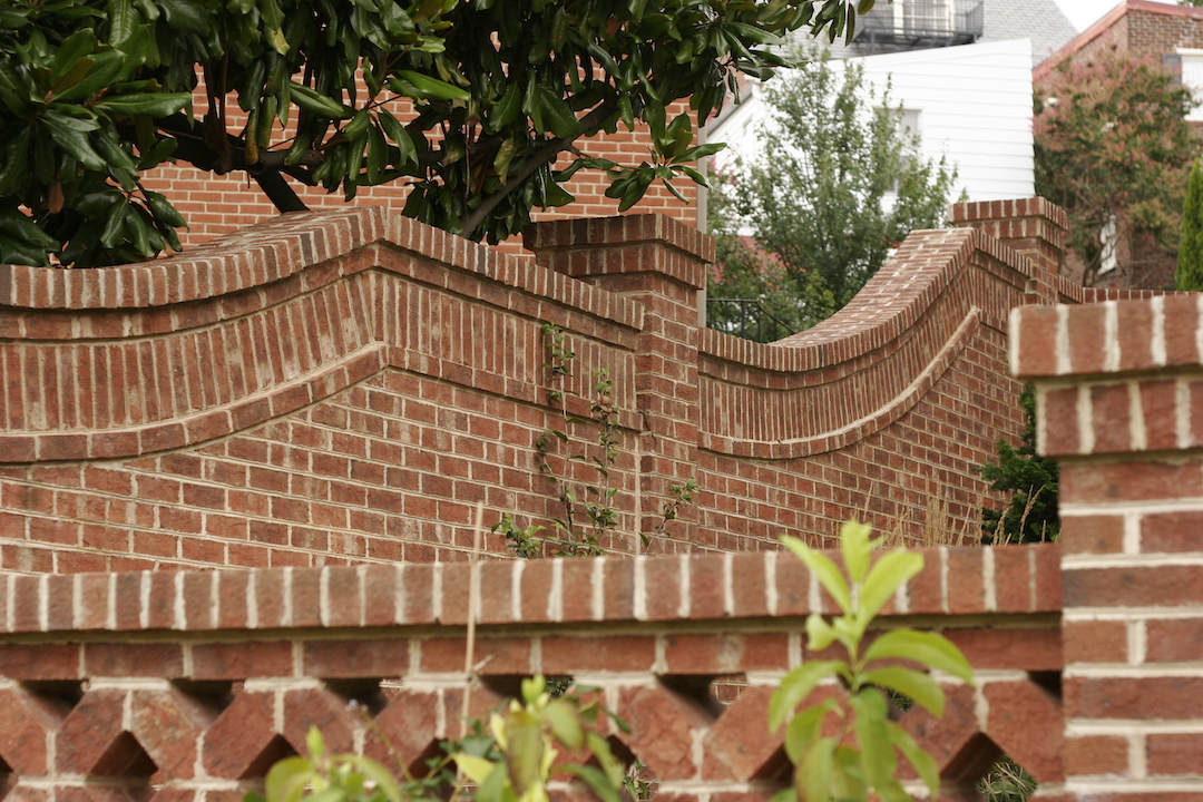 Views of the brick wall, using the same brick in different laying styles to create beautiful details