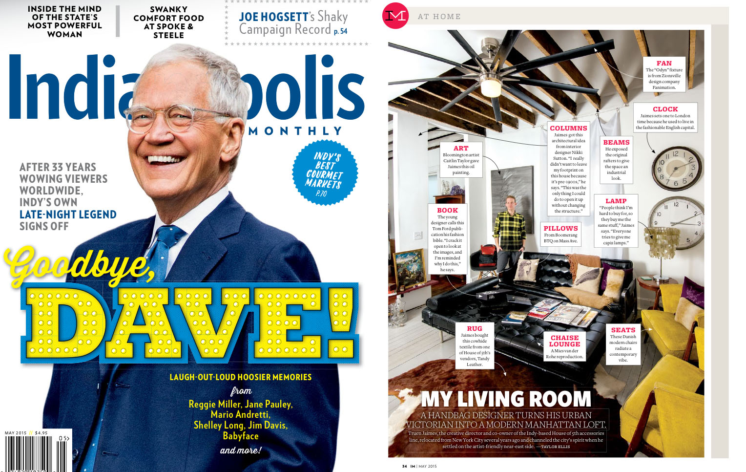 The new P.S. F*U backpack & Dexter Sidekick both makean appearance in the  Indianapolis Monthly feature of our Creative Director's modern Midwest home.
