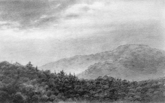 In the Berkshires (Graphite on paper, 4.5 x 7 in.)