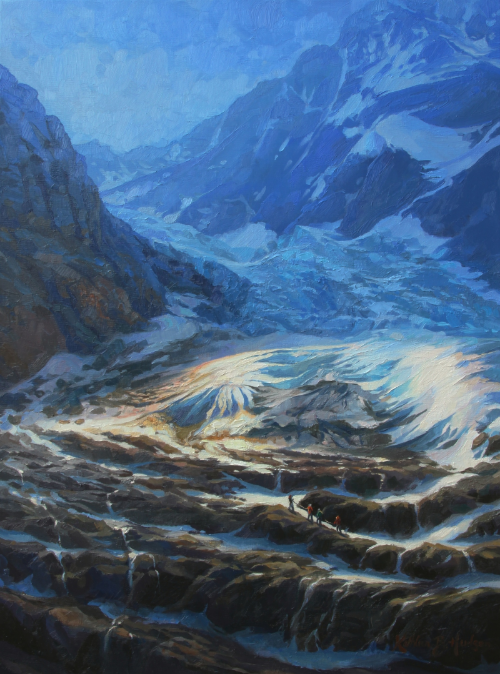 At the Base of the Glacier  | Oil on linen, 18 x 24 in. | Accepted into the 2014 Women Painters of the Southeast Members' Show, to be displayed at the Magnolia Gallery in Greensboro, GA in March.