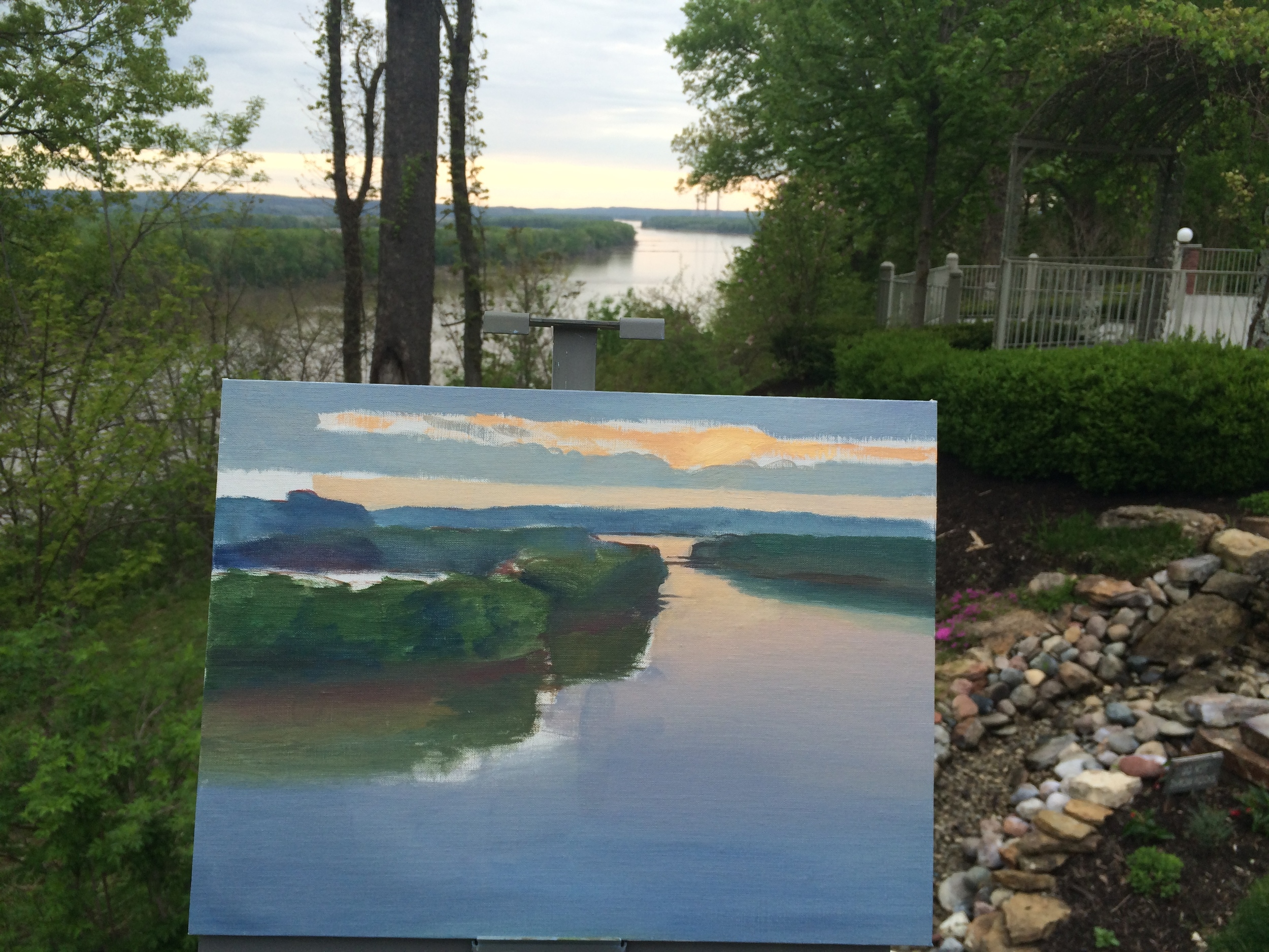 My initial wash and block-in for Sunrise Over the Missouri.