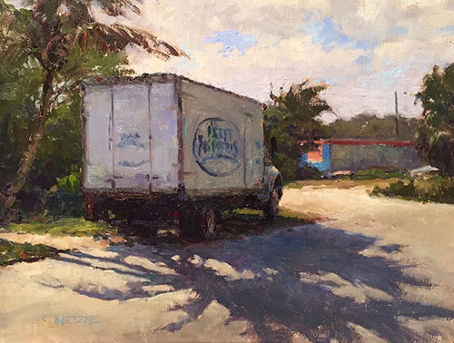 """""""Fish Truck,"""" by Carl Bretzke, 2016, oil, 11 x 14 in. First Place"""