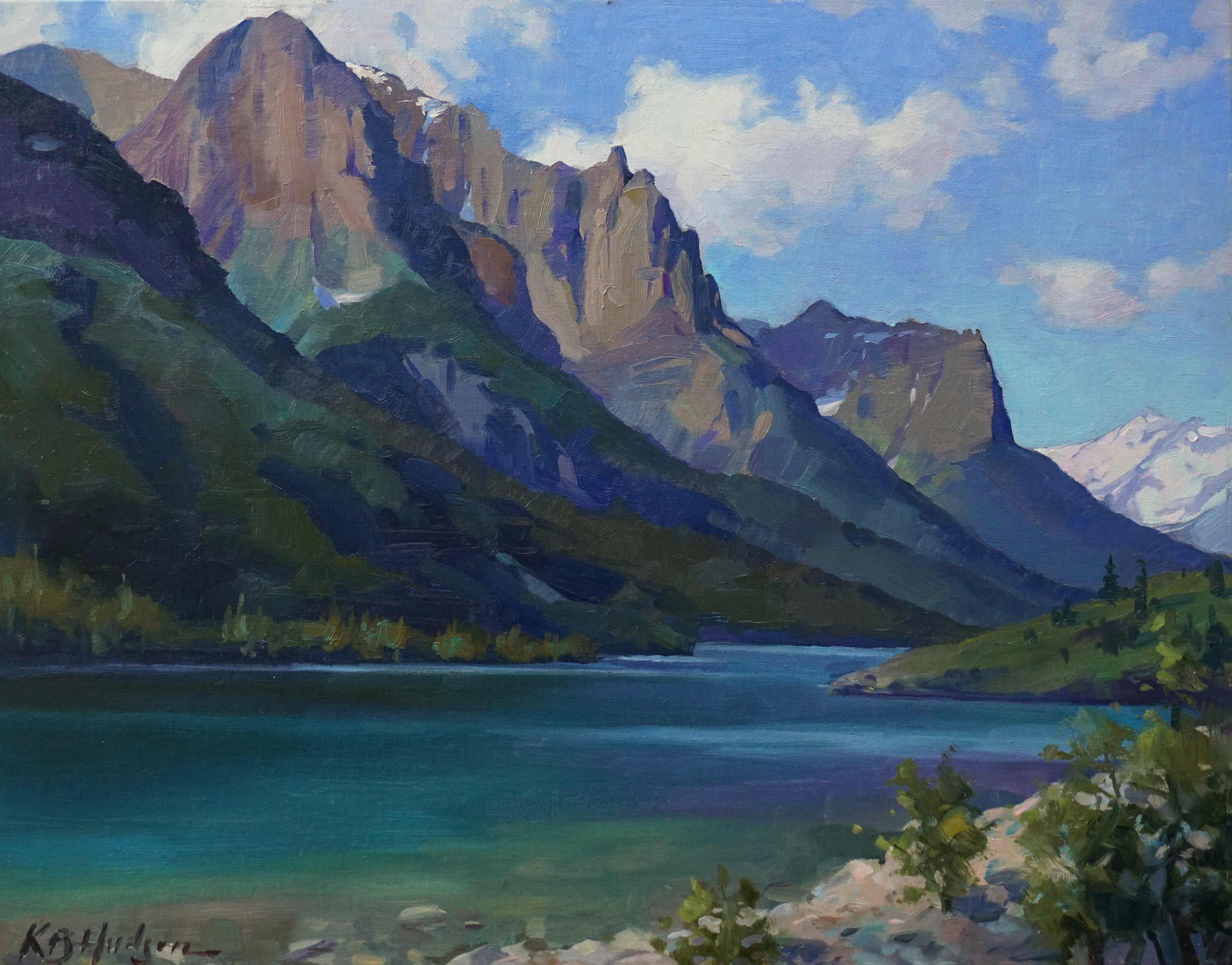 """""""Morning at St. Mary's Lake,"""" by Kathleen B. Hudson, 2016, oil on linen, 14 x 18 in."""