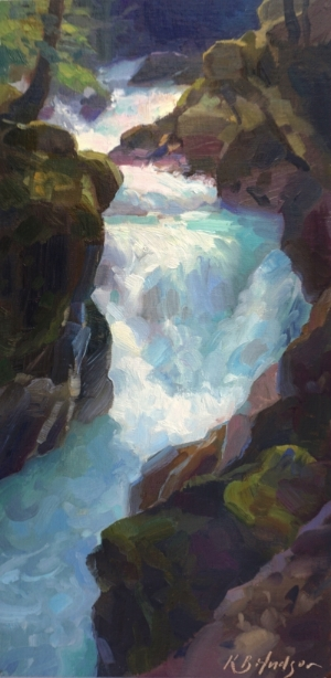 """""""Early Light on Avalanche Creek Gorge,"""" 16 x 8 in., oil"""