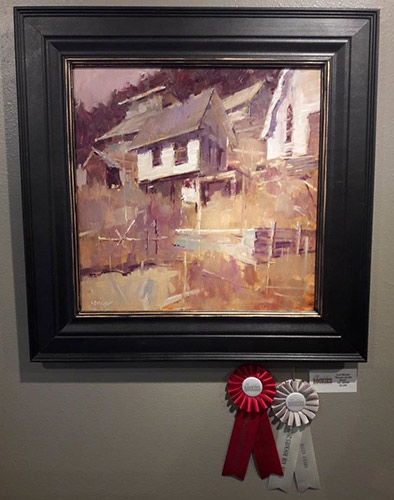 """""""House on the Rock,"""" by Lon Brauer, 2016, oil, 20 x 20 in. Second Place and the Allen Award"""