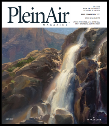 Hudson's work featured on June/July 2017 cover of  PleinAir Magazine