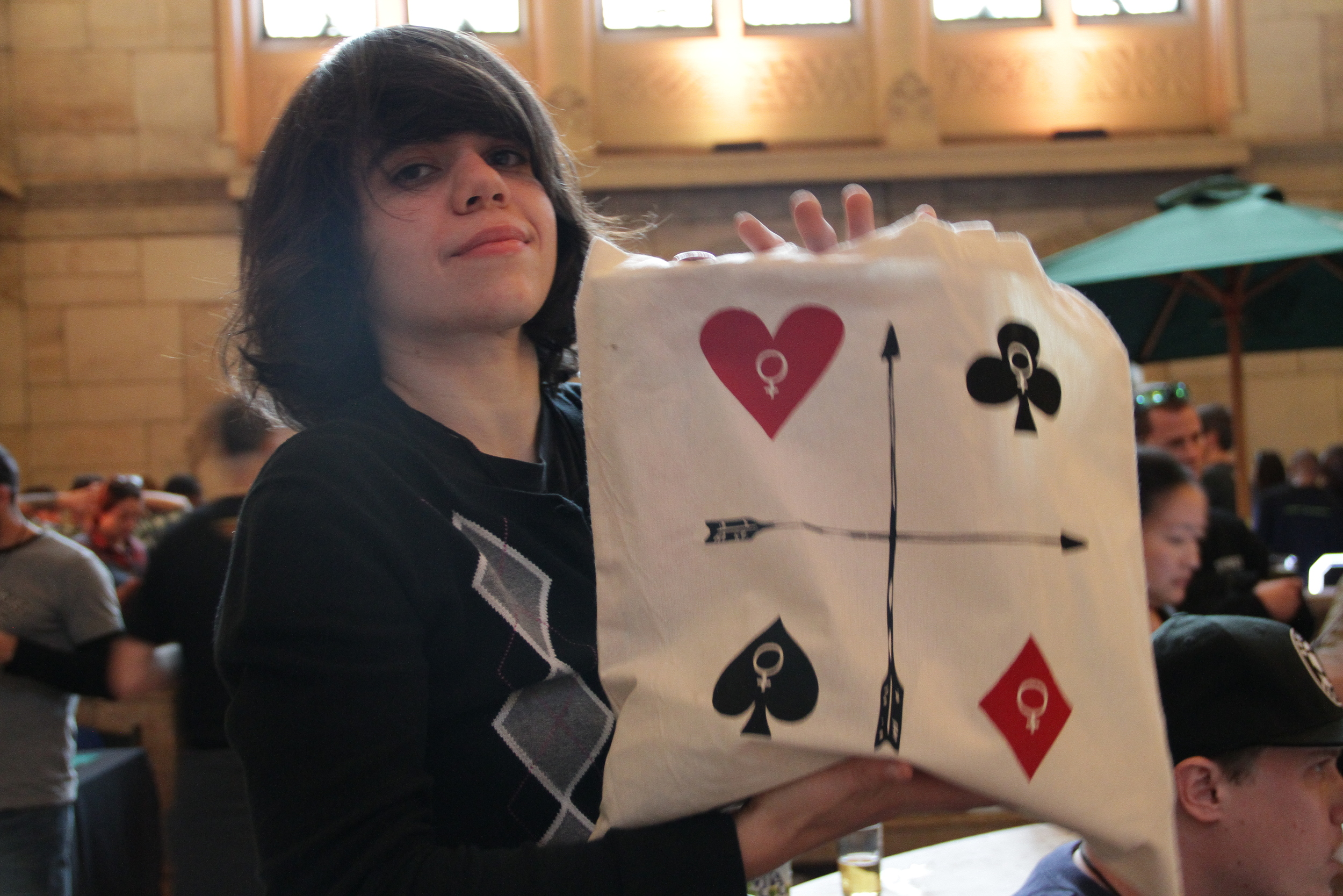 Our buddy & event DJ Marissa of  Screaming Females  poses with a  Feminist Playing Cards  tote bag!