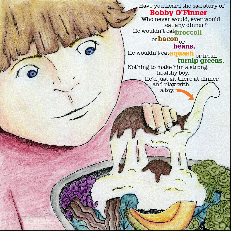 """Illustrations for """"The Boy Who Wouldn't Eat His Dinner."""""""