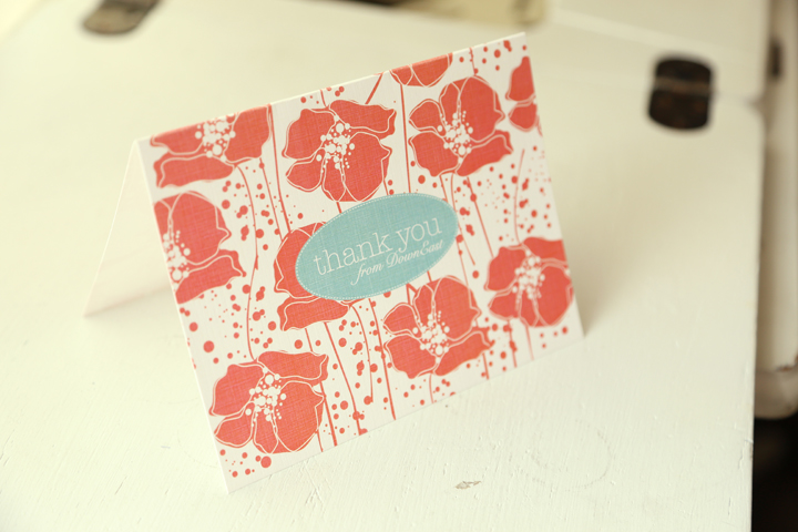 Thank you card for DownEast Outfitters' customers. I was going through a poppy stage.