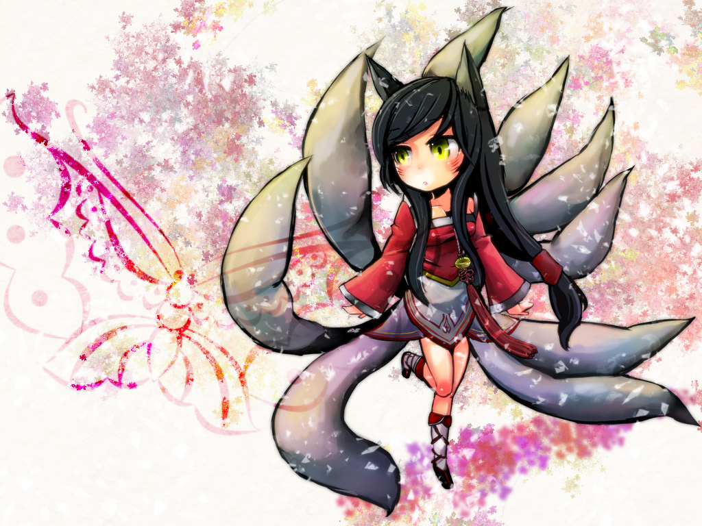 prepubescent Ahri, just walking in a park, nine tails out and all