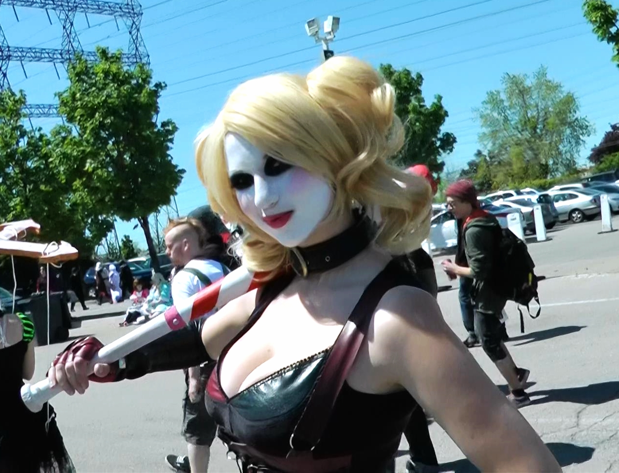 Harley Quinn from DC Comicslooks so devious with her matching baseball bat.