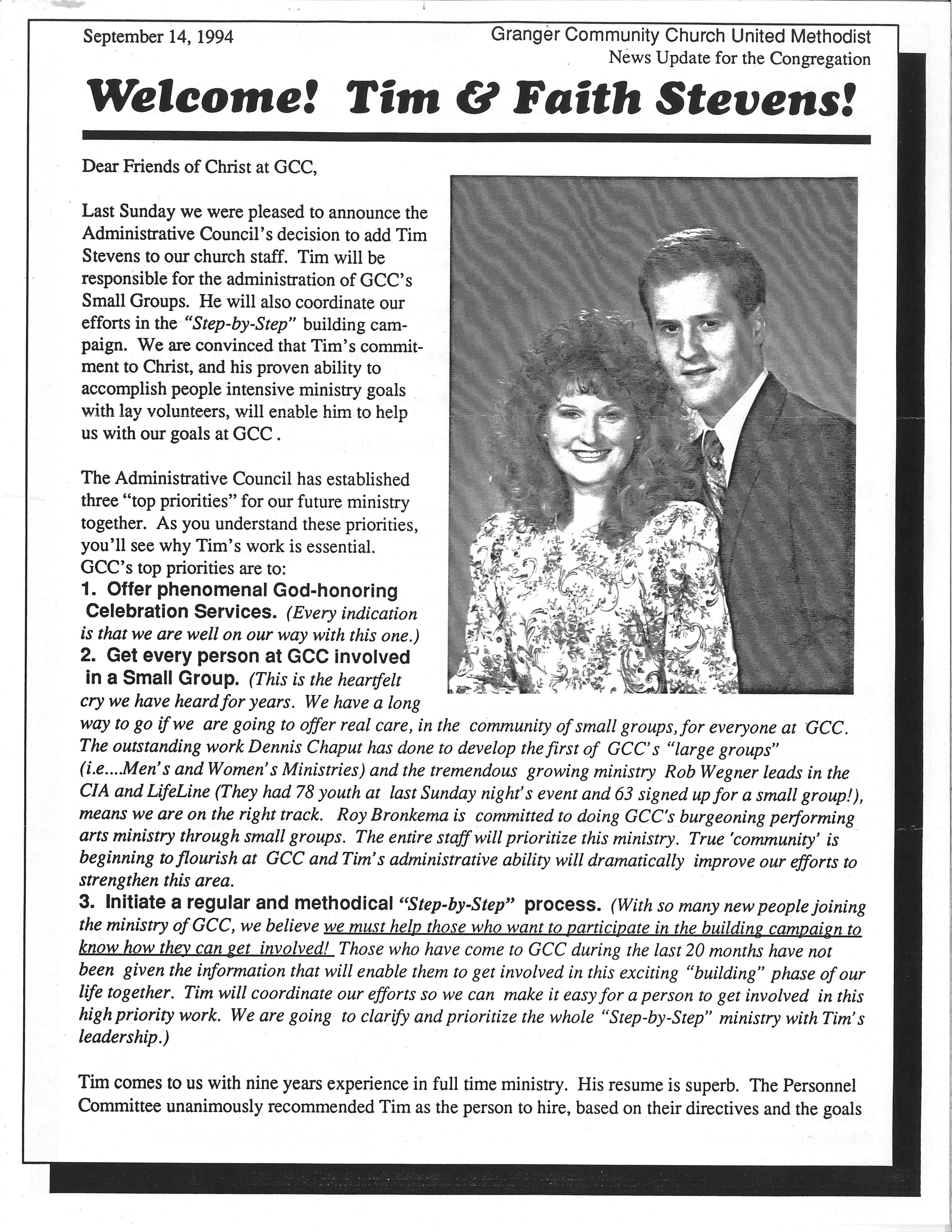 Granger Community Church newsletter from September 14, 1994