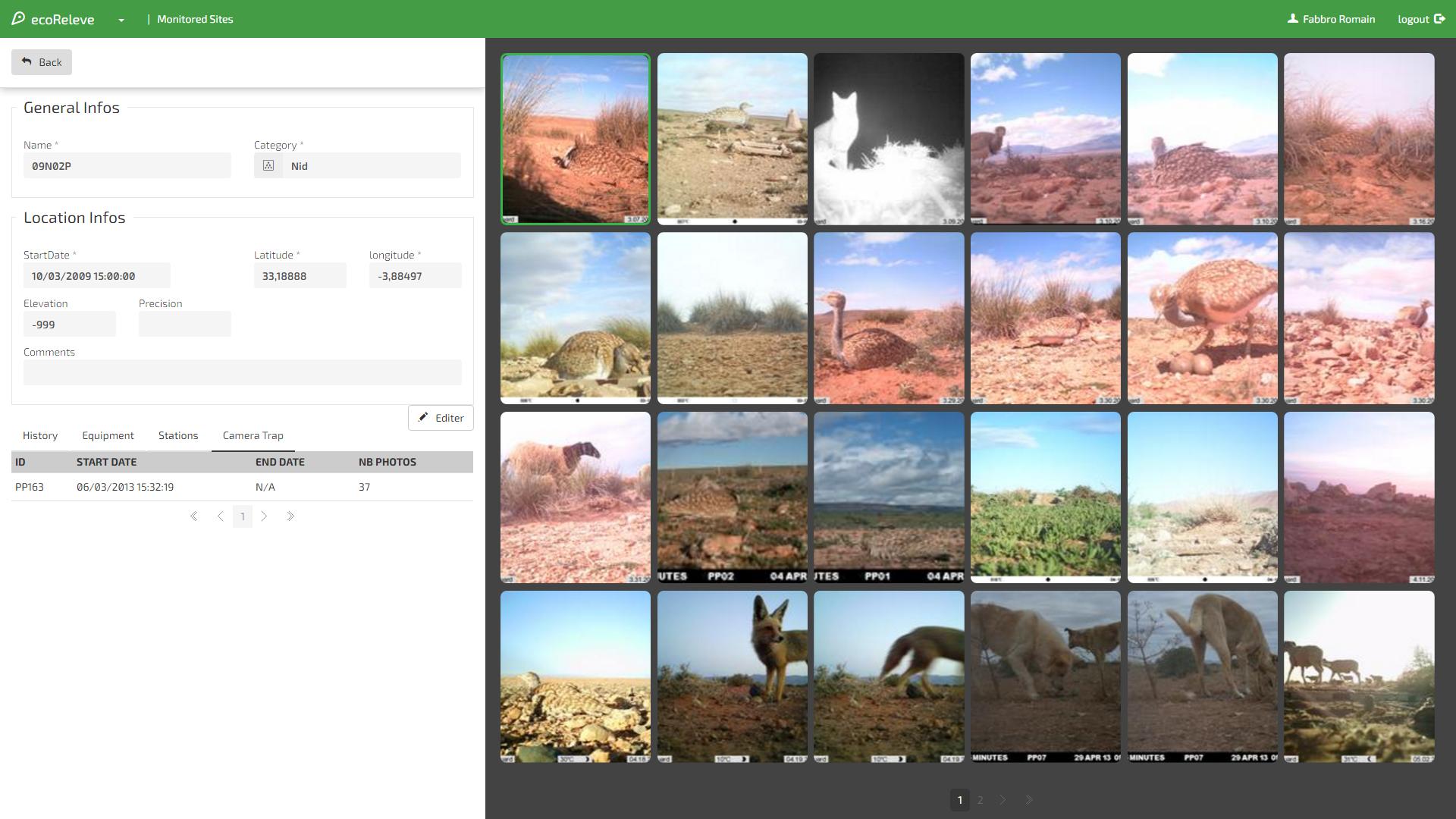 [consultation]camera trap une fois validé on peut consulter les photos par rapport au site ou la station.png