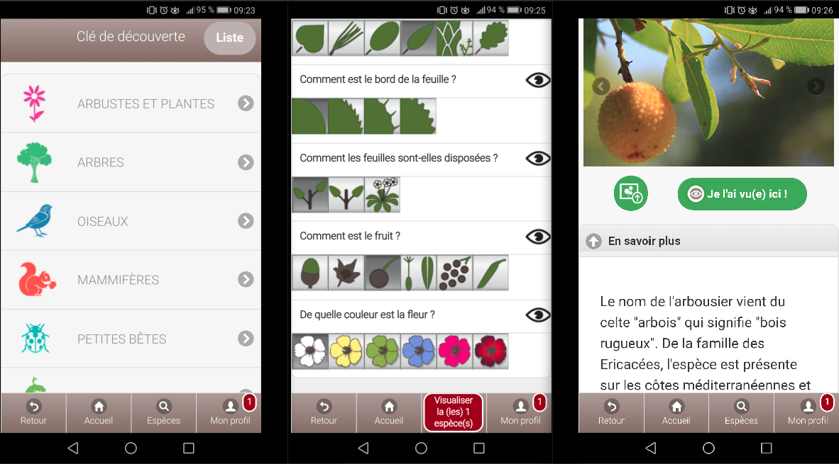 Captures d'écran de l'application EcoBalade.