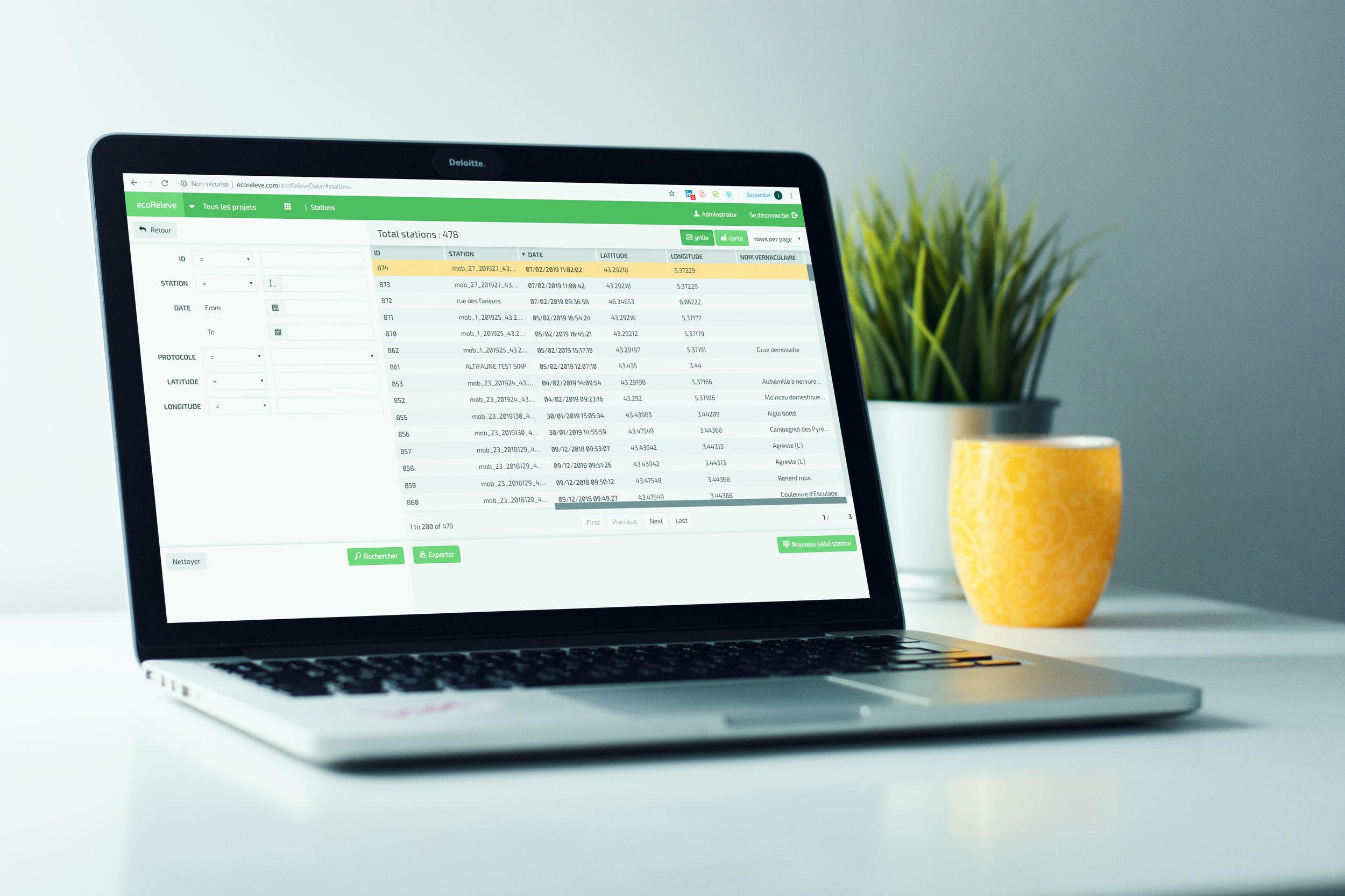 ecoRelevé desktop - Logiciel de gestion de donnée géo-référencées