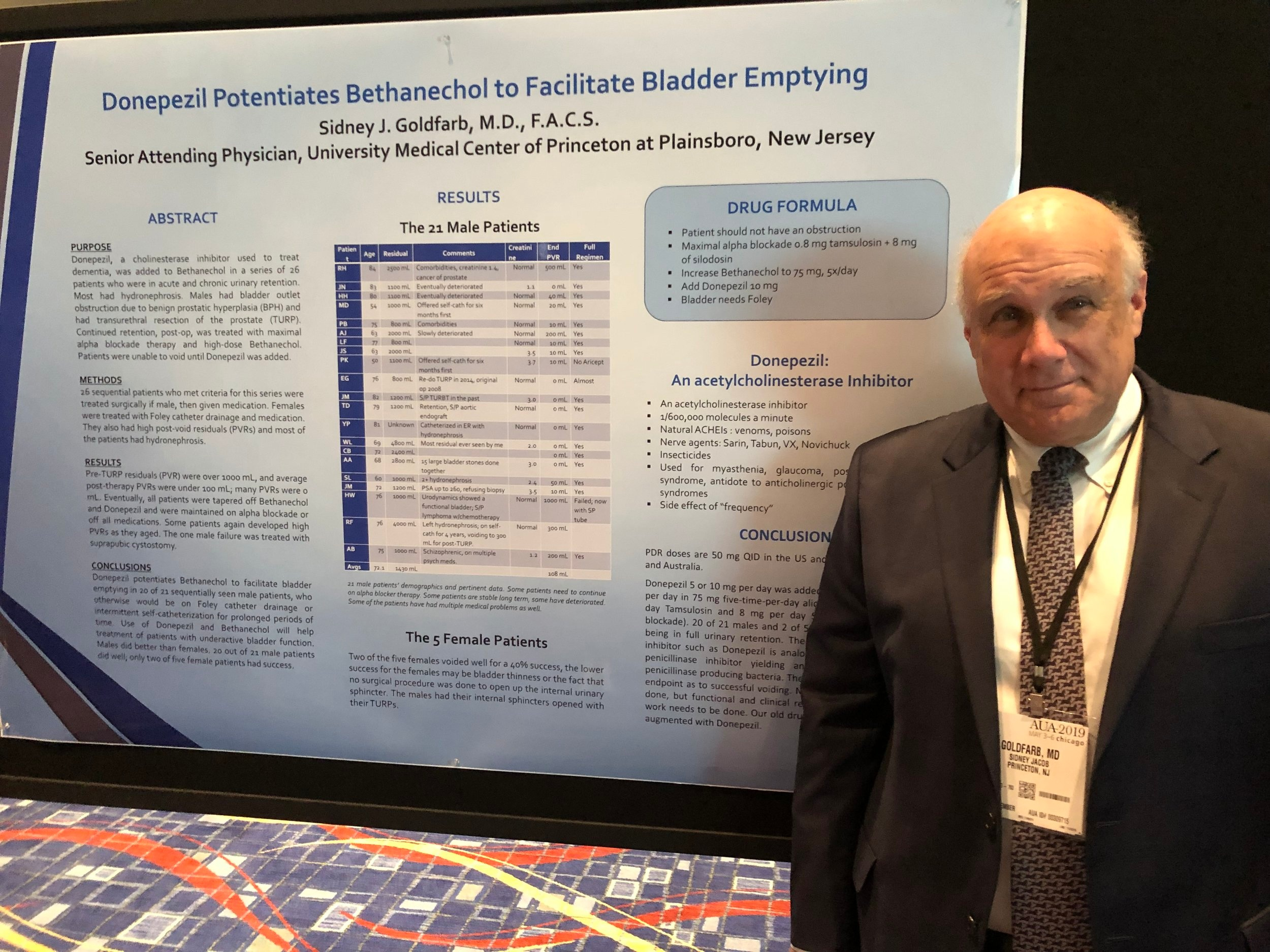 Dr. Goldfarb presenting his patented drug solution for urinary retention at the AUA 2019 conference in Chicago