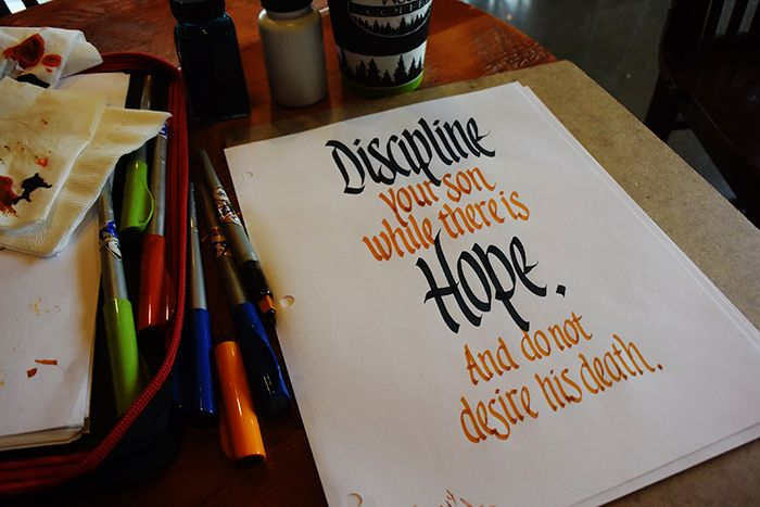 Garman busy at Woods Coffee in Birch Bay, south of Blaine Washington. This proverb raised a couple of eyebrows while I was working on it.