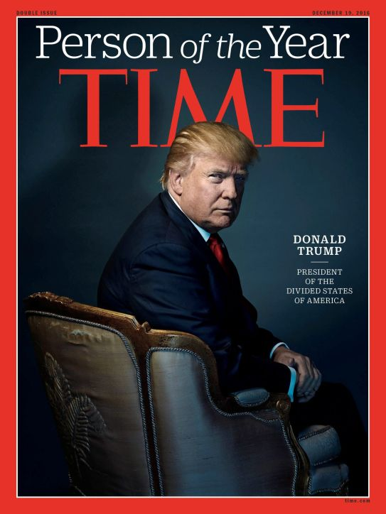 Trump on the cover of time. Oblivious to the meaning of the set and positioning.