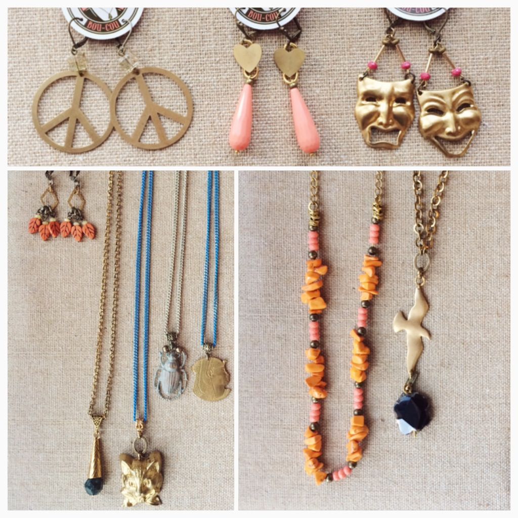 Feelin a little hippie? Like a princess? Or a mascarade costume? These earrings are great! Or you could pay tribute to Alfred Hitchcock with our black bird necklace, wear a creepy bug or a cute kitty, go Egyptian, or maybe just keep it conservative and just wear Halloween colors.