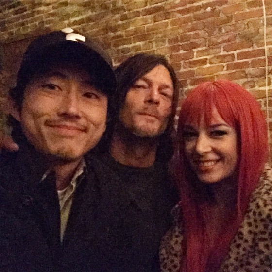 Becka with Norman and Steven Yeun! (Becka was Hipster Ariel, by the way!)