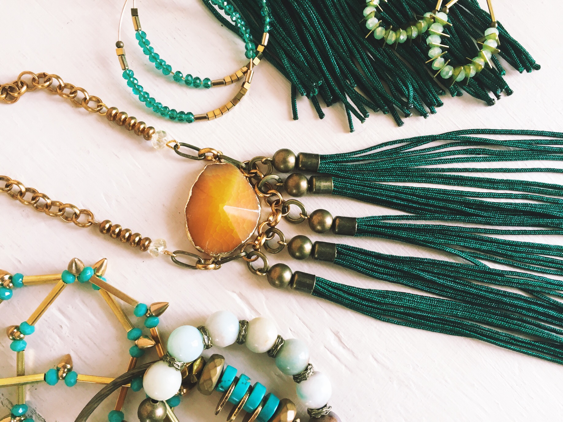 Just a small selection of our green jewelry.