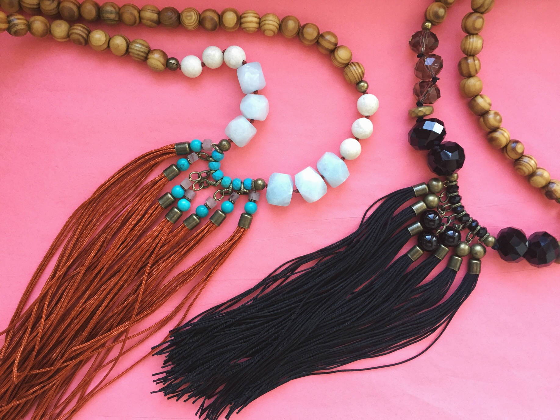 Tassels with wood bead accents for a more natural style.