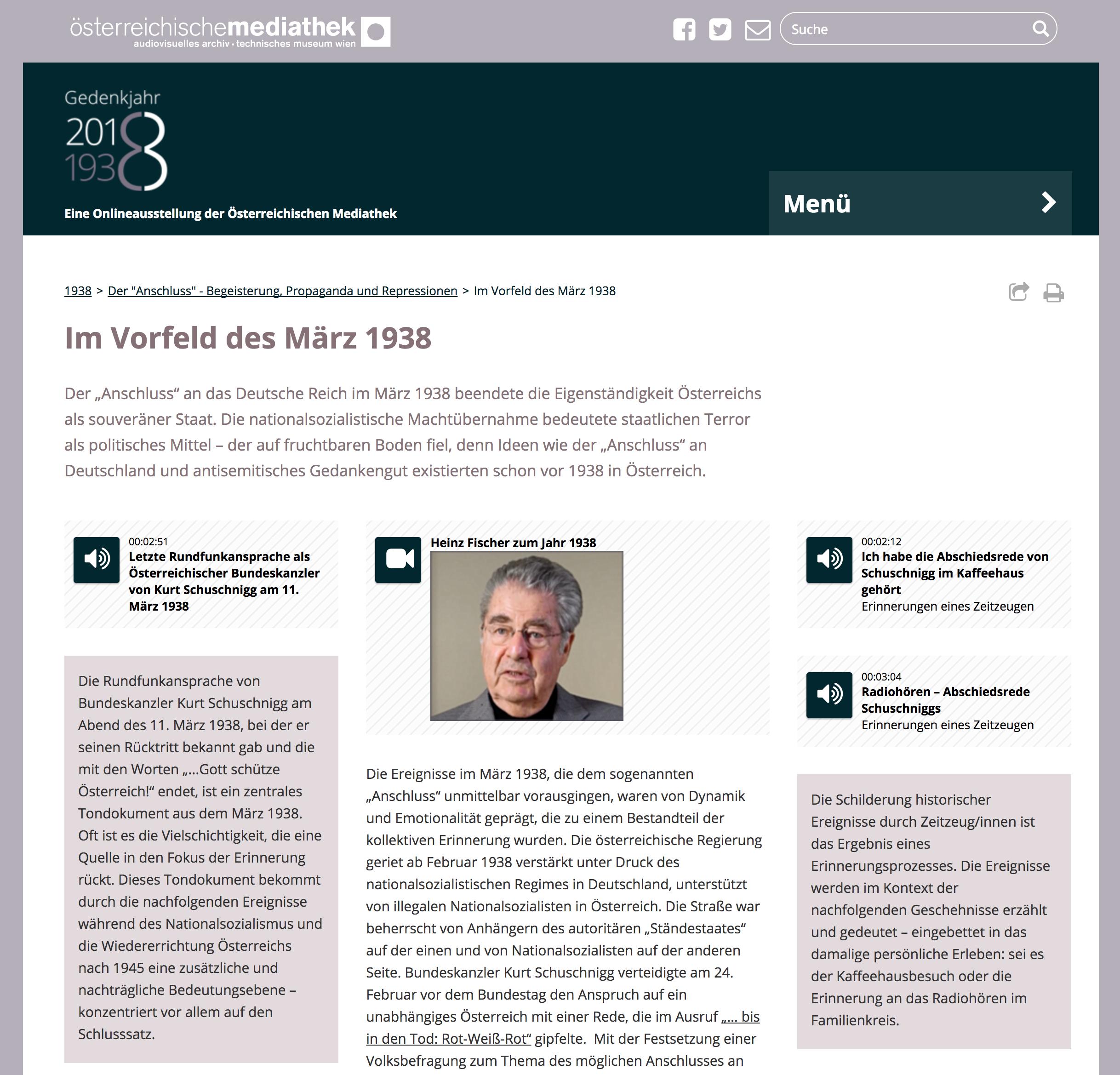 """Screenshot des Kapitels """" Der """"Anschluss"""" - Begeisterung, Propaganda und Repressionen """" der Onlineausstellung"""