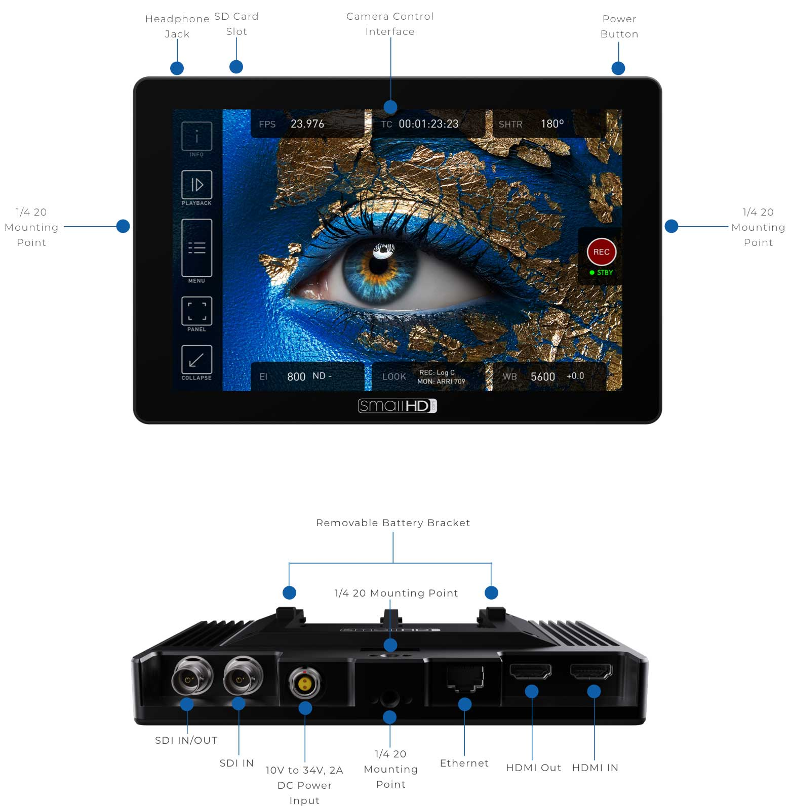 CINE 7-inch Touchscreen Monitor with DCI-P3 Color and 1800 nits brightness w/ ARRI camera control