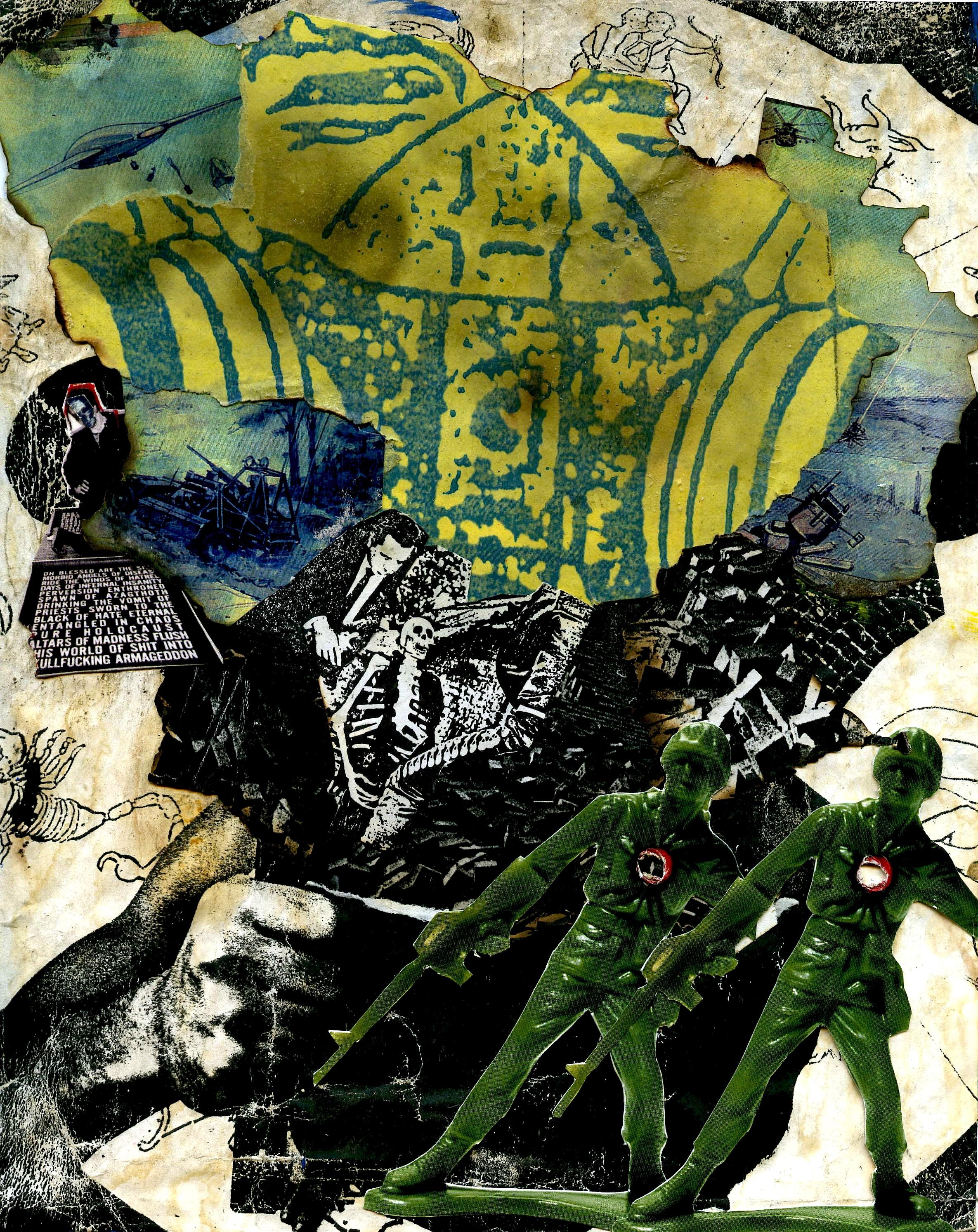 """War  8"""" x 10"""" collage on canvas"""