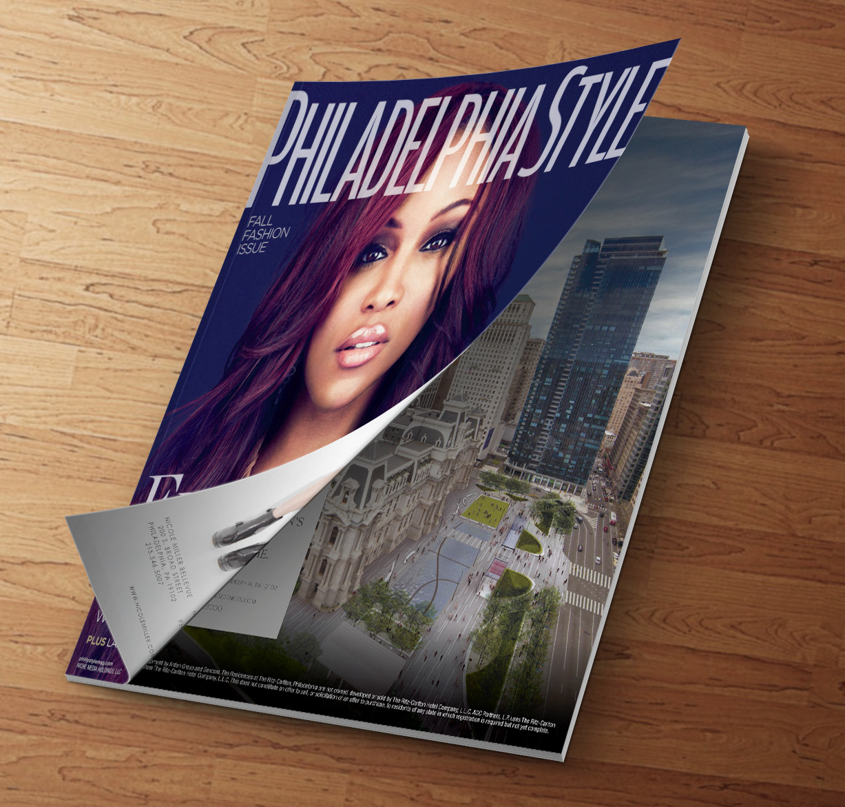 Front cover and page 41 from the Fall 2013 issue of Philadelphia Lifestyle Magazine.