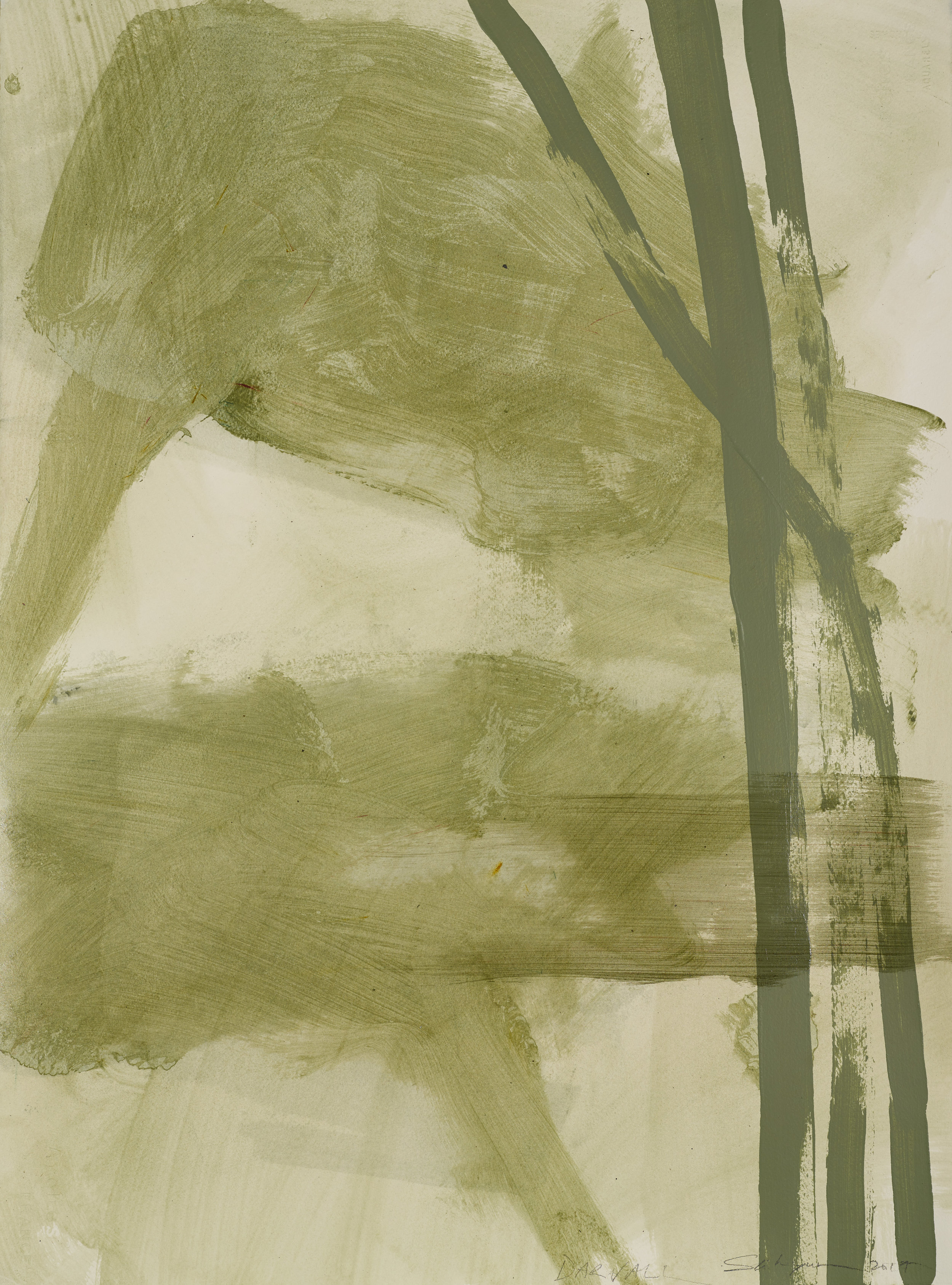 Green lotus  Collaboration Jo Darvall and Yeo Shih Yun 2017  pigment on acrylic on linen  76cm x 56cm   enquiries contact Art Forum