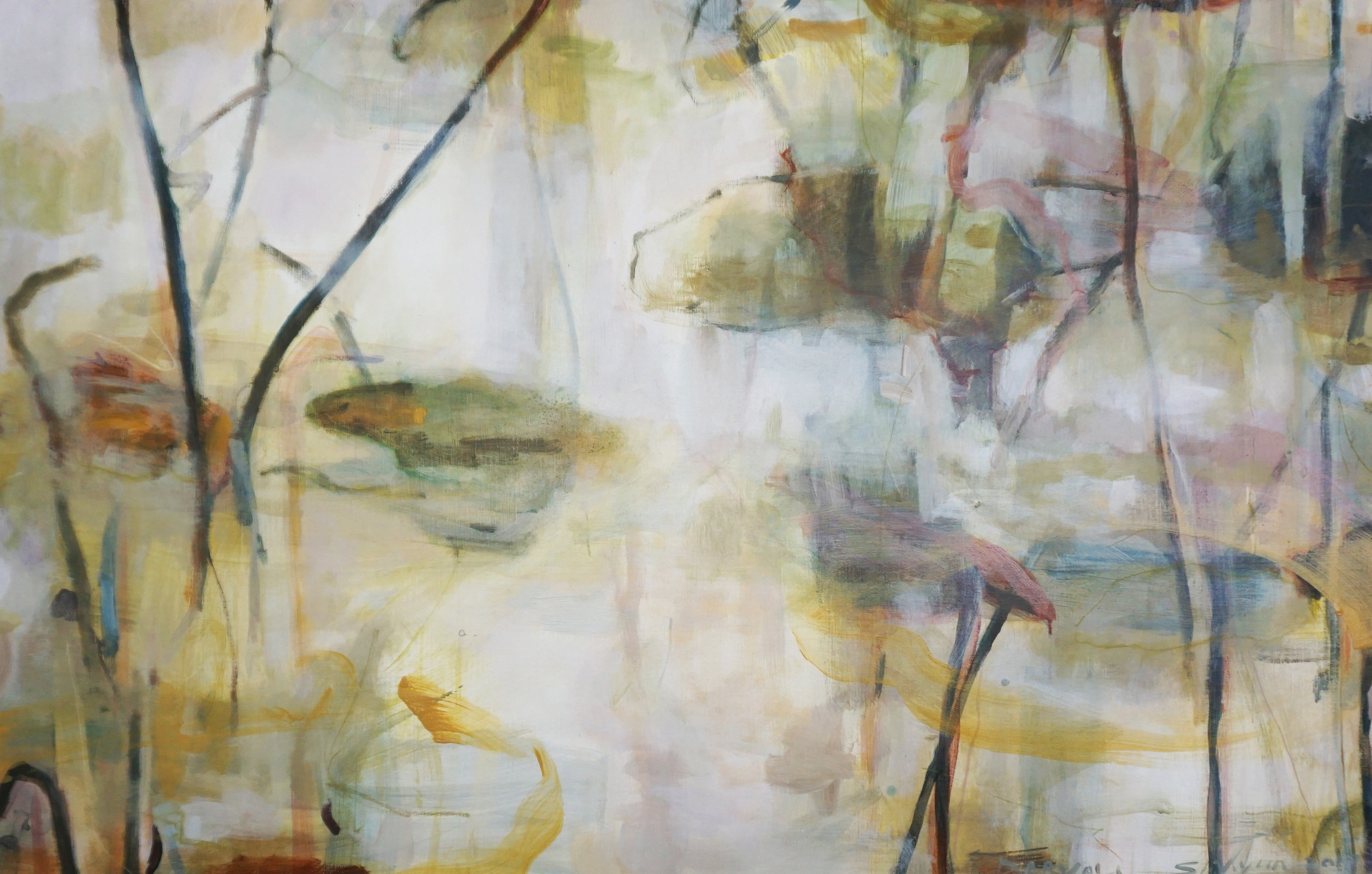Lotus #2 2017  pigment and acrylic on Linen  98cm x 154cm  Private collection