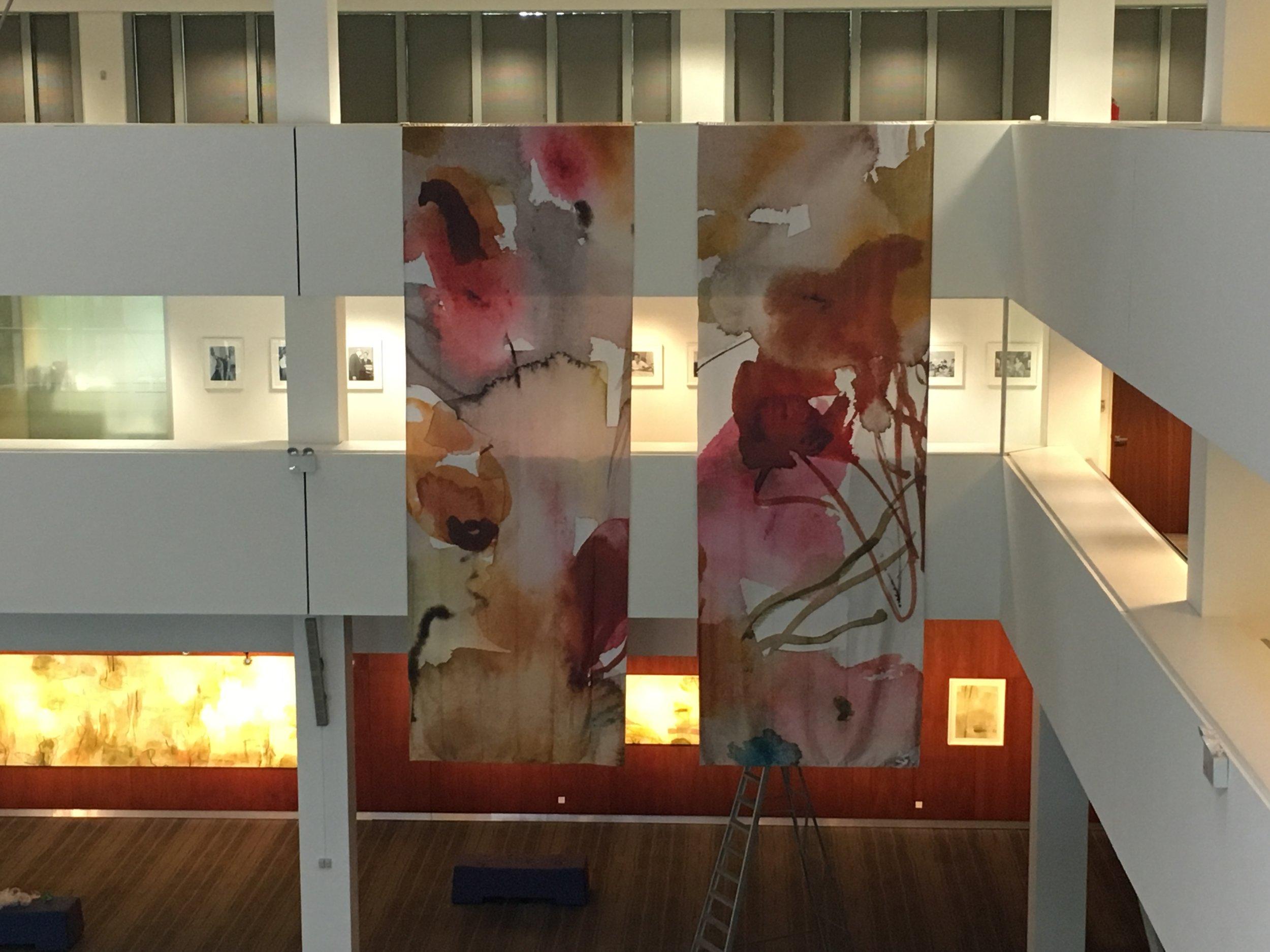Water colour on silk install 2017  Australian High Commission Singapore  200 cm x 6800 cm